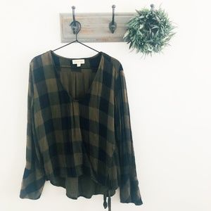 Anthro Cloth & Stone Green Plaid Blouse L